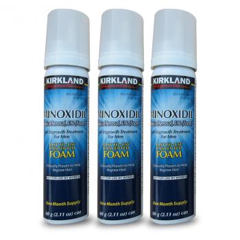 Minoxidil Mousse (Tratamento Calvície e Crescimento Capilar) Kirkland 3x60gr