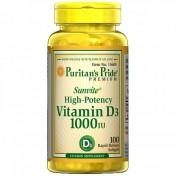 Vitamina D-3 1000 IU Puritan um frasco com 100 comprimidos para imunidade.