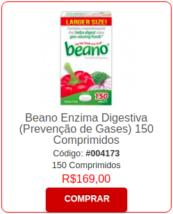 Beano Enzima Digestiva Prevenção de Gases 100 Capsulas